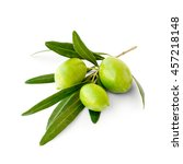 Small photo of Three green ripe olives on branch, isolated
