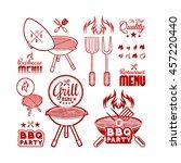 barbecue grill drawn | Shutterstock . vector #457220440