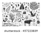 hand drawn pattern with... | Shutterstock .eps vector #457223839
