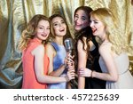 the girls sing karaoke in the... | Shutterstock . vector #457225639