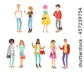 trendy street fashion clothing... | Shutterstock .eps vector #457239754