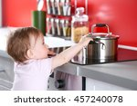 little child playing with pan...   Shutterstock . vector #457240078