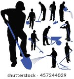 set of black vector silhouettes ... | Shutterstock .eps vector #457244029