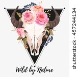 buffalo skull decorated with... | Shutterstock .eps vector #457244134