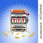 slot machine with lucky seven... | Shutterstock .eps vector #457269940