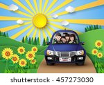 funny family driving in car on... | Shutterstock .eps vector #457273030