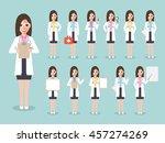 group of female doctors  women... | Shutterstock .eps vector #457274269