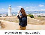 travel cyprus   girl... | Shutterstock . vector #457283593