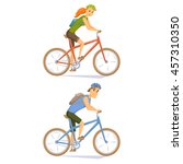 cyclist on mountain bike set.... | Shutterstock .eps vector #457310350