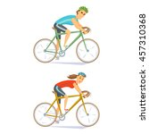 cyclists on road bikes set.... | Shutterstock .eps vector #457310368