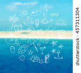 hand drawn doodle summer icons... | Shutterstock .eps vector #457311304