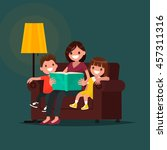 mum reads the book to children. ...   Shutterstock .eps vector #457311316