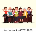 big family sitting on the sofa. ... | Shutterstock .eps vector #457311820