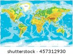 physical world map  | Shutterstock .eps vector #457312930