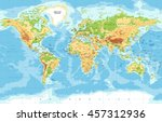 physical world map   | Shutterstock .eps vector #457312936