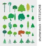 set vector trees in flat style   Shutterstock .eps vector #457319248