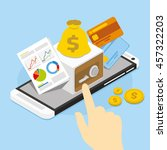 mobile banking with safe | Shutterstock .eps vector #457322203