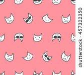 seamless doodle cat pattern. | Shutterstock .eps vector #457322350