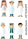 set of cartoon different arab... | Shutterstock .eps vector #457324399