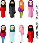 set of cartoon different arab... | Shutterstock .eps vector #457324624