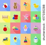 baby toys and accessories flat... | Shutterstock .eps vector #457330288