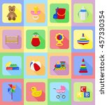 baby toys and accessories flat...   Shutterstock .eps vector #457330354