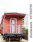 Red Wood Plank Caboose In...