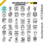 creative learning outline icons ... | Shutterstock .eps vector #457338664