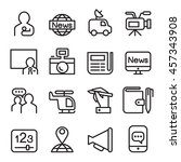 news   mass media icon set in... | Shutterstock .eps vector #457343908