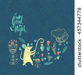 good night. vector illustration ... | Shutterstock .eps vector #457344778