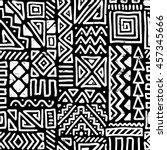 vector seamless black and white ... | Shutterstock .eps vector #457345666