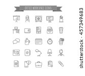 office workspace icons set | Shutterstock .eps vector #457349683