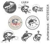 set of vintage carp fishing... | Shutterstock . vector #457355314