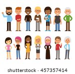 diverse set of cartoon people.... | Shutterstock . vector #457357414