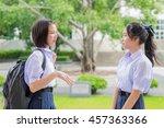 cute asian thai high... | Shutterstock . vector #457363366