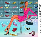shoes holic  beautiful lady...   Shutterstock .eps vector #457367500