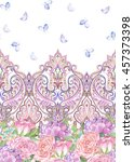 paisley painted seamless... | Shutterstock . vector #457373398