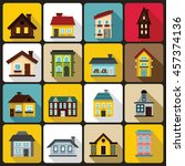 house icons set in flat style.... | Shutterstock .eps vector #457374136