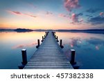 long pier leading out onto the... | Shutterstock . vector #457382338