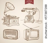 engraving vintage hand drawn... | Shutterstock .eps vector #457387288