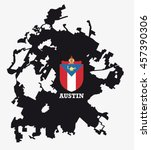 city of austin map silhouette... | Shutterstock .eps vector #457390306
