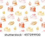 tasty cakes seamless pattern.... | Shutterstock .eps vector #457399930