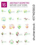 geometric leaf icon set. thin... | Shutterstock . vector #457405810