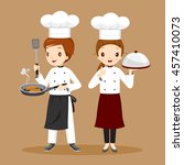 professional chefs with foods... | Shutterstock .eps vector #457410073