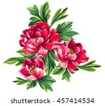 Stock vector bouquet of peony flowers 457414534
