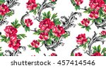 baroque pattern with bouquet of ...