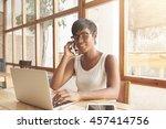 ordinary day of journalist.... | Shutterstock . vector #457414756