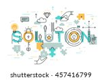 thin line flat design banner of ... | Shutterstock .eps vector #457416799