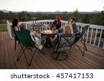 family and friends in... | Shutterstock . vector #457417153