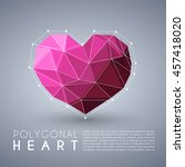 abstract polygonal heart shape  ... | Shutterstock .eps vector #457418020